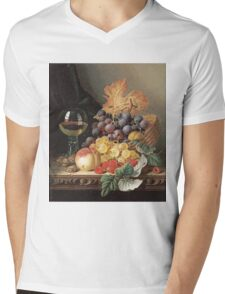 Edward Ladell - A Basket Of Grapes, Raspberries. Edward Ladell - still life with fruits and glass of wine. Mens V-Neck T-Shirt