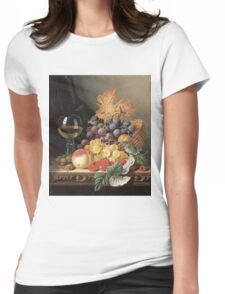 Edward Ladell - A Basket Of Grapes, Raspberries. Edward Ladell - still life with fruits and glass of wine. Womens Fitted T-Shirt