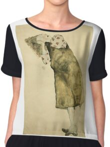 Egon Schiele - Sleeping Girl. Schiele - girl portrait. Chiffon Top