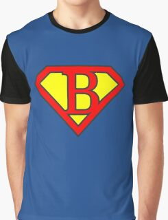 B letter in Superman style Graphic T-Shirt