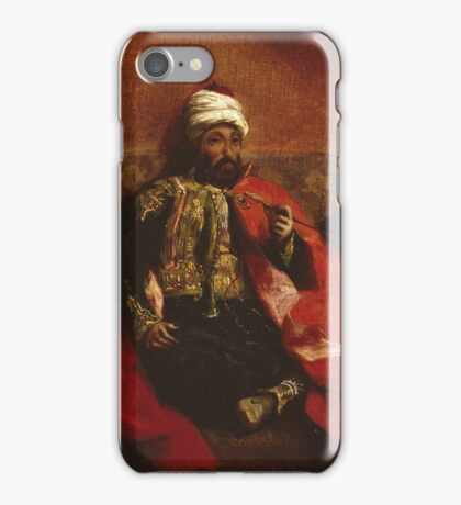 Eugene Delacroix  - A Turk Smoking Sitting On A Sofa.  Delacroix  - man portrait. iPhone Case/Skin
