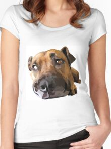 Puppy Dog Vector Portrait Women's Fitted Scoop T-Shirt