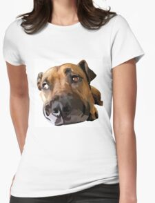Puppy Dog Vector Portrait Womens Fitted T-Shirt