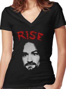Charles Manson - Rise Women's Fitted V-Neck T-Shirt