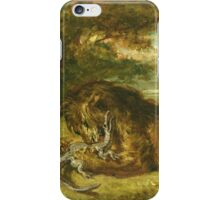 Eugene Delacroix  - Lion And Alligator.  Delacroix , Lion Alligator. iPhone Case/Skin