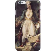 Eugene Delacroix  - Greece Expiring On The Ruins Of Missolonghi.  Delacroix  - woman portrait. iPhone Case/Skin