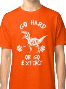 Go Hard or Go Extinct (White T-Rex Deadlift) Classic T-Shirt