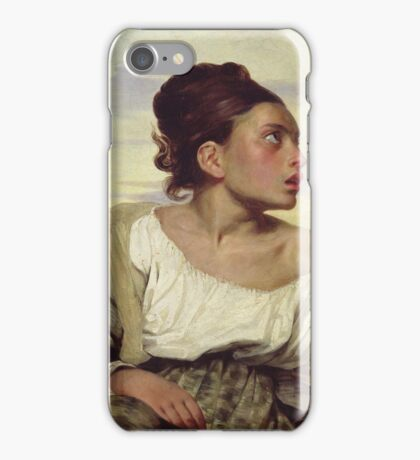Eugene Delacroix  - Young Orphan In The Cemetery.  Delacroix  - woman portrait. iPhone Case/Skin