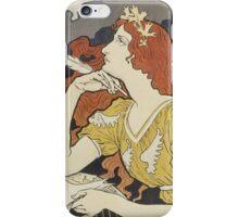 Eugene Samuel Grasset  - Encre L. Marquet 1892. Eugene Samuel Grasset  - woman portrait. iPhone Case/Skin