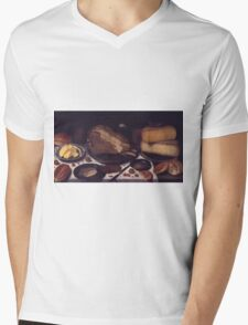 Floris Van Schooten - Breakfast 1615 - 1620 . Floris Van Schooten - still life kitchen and market . Mens V-Neck T-Shirt