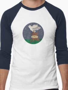 Barn Owl on a Tree Stump Men's Baseball ¾ T-Shirt
