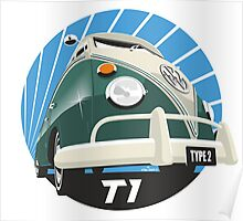 VW Type 2 Transporter T1 green Poster