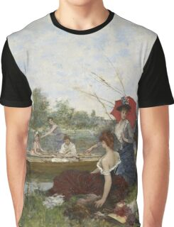 Francesco Miralles Galaup - Boating 1888.  Miralles Galaup - woman portrait. Graphic T-Shirt