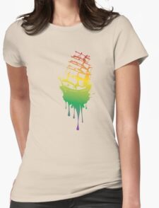 Frigate Ship Colorful Grunge Womens Fitted T-Shirt