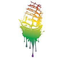 Frigate Ship Colorful Grunge Photographic Print