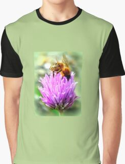 Bee on chive flower Graphic T-Shirt