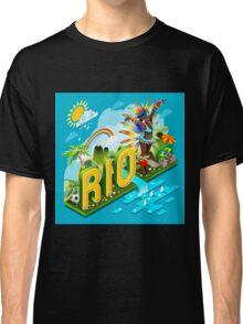 Brasil Rio Summer Infographic Isometric 3D Classic T-Shirt