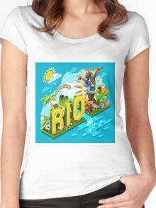 Brasil Rio Summer Infographic Isometric 3D Women's Fitted Scoop T-Shirt
