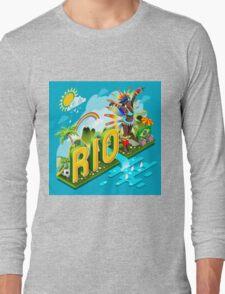 Brasil Rio Summer Infographic Isometric 3D Long Sleeve T-Shirt