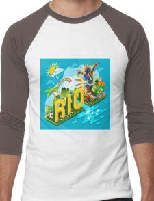 Brasil Rio Summer Infographic Isometric 3D Men's Baseball ¾ T-Shirt