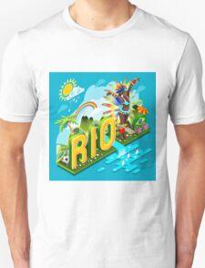 Brasil Rio Summer Infographic Isometric 3D Unisex T-Shirt