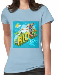 Brasil Rio Summer Infographic Isometric 3D Womens Fitted T-Shirt