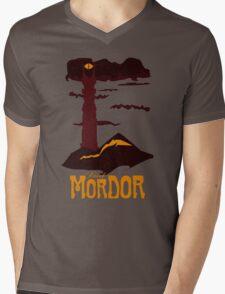 Mordor vintage travel poster Mens V-Neck T-Shirt