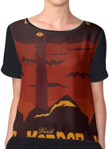 Mordor vintage travel poster Chiffon Top