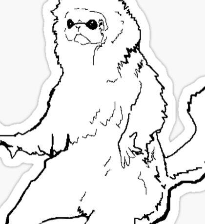 White Cat Monkey Meme Sticker