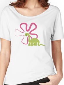 Dinamic Girls Collection - Green Dinosaur Girl with Flower Women's Relaxed Fit T-Shirt