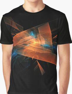 orange - blue abstract diamond spiral shape on black background Graphic T-Shirt