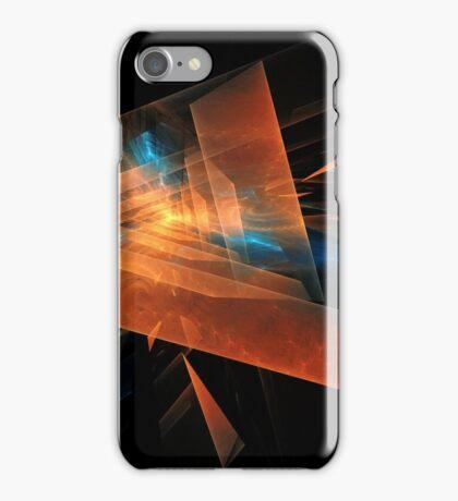 orange - blue abstract diamond spiral shape on black background iPhone Case/Skin