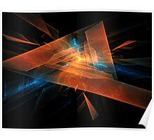 orange - blue abstract diamond spiral shape on black background Poster