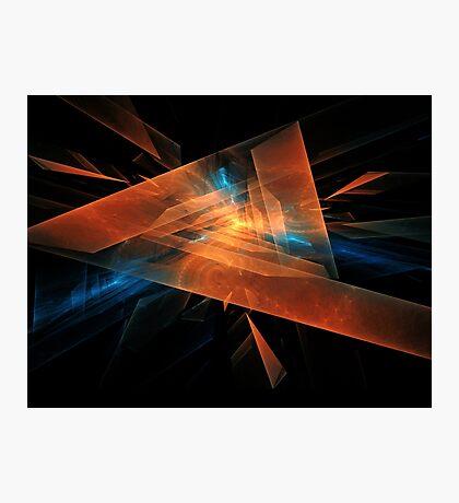 orange - blue abstract diamond spiral shape on black background Photographic Print