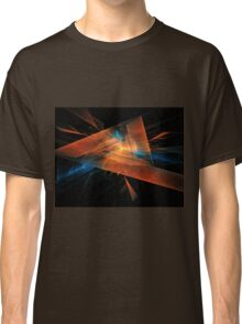 orange - blue abstract diamond spiral shape on black background Classic T-Shirt