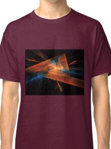orange - blue abstract diamond spiral shape on black background Classic T-Shirt