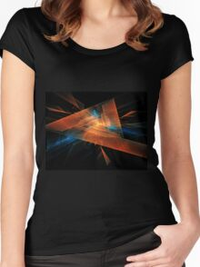 orange - blue abstract diamond spiral shape on black background Women's Fitted Scoop T-Shirt