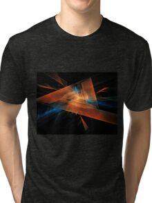 orange - blue abstract diamond spiral shape on black background Tri-blend T-Shirt