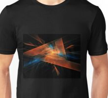 orange - blue abstract diamond spiral shape on black background Unisex T-Shirt