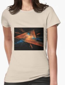 orange - blue abstract diamond spiral shape on black background Womens Fitted T-Shirt