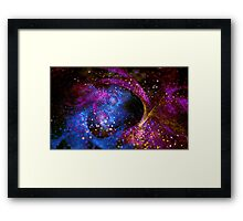 Bright abstract violet star background with bokeh.  Framed Print