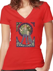 Siodachan Women's Fitted V-Neck T-Shirt
