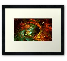 Bright abstract orange-green star background with bokeh.  Framed Print