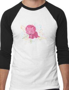 Dinamic Girls Collection - Pink Dinosaur Girl with Flowers Men's Baseball ¾ T-Shirt
