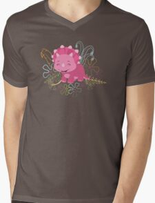 Dinamic Girls Collection - Pink Dinosaur Girl with Flowers Mens V-Neck T-Shirt