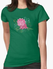 Dinamic Girls Collection - Pink Dinosaur Girl with Flowers Womens Fitted T-Shirt