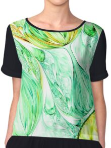 green abstract wave psychedelic background. Fractal artwork for creative design. Chiffon Top