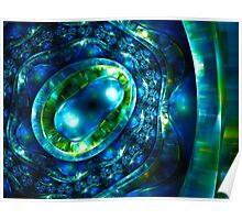 Abstract luxury ornate sparkle blue and green bright pattern. Brilliant ornament background.  Poster