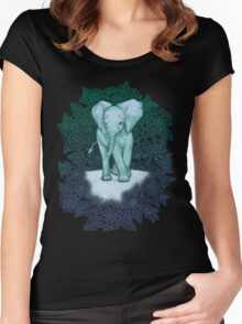 Emerald Elephant in the Lilac Evening Women's Fitted Scoop T-Shirt