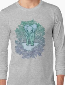 Emerald Elephant in the Lilac Evening Long Sleeve T-Shirt